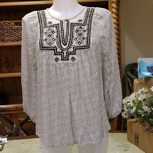 Lucky Brand embroidered Boho top NWOT